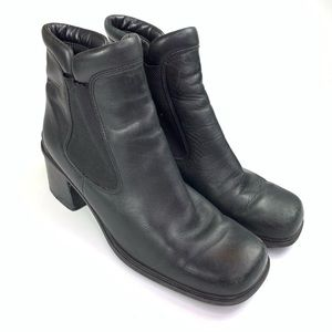 Ecco Boots Leather Heeled Ankle Booties Black